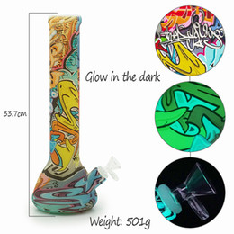 Wholesale Glow Dark Printing - Glow in the dark beaker base 13.5'' tall Silicone Water Pipe printing glass bongs glass water pipe
