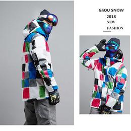 зимняя лыжная куртка мужская водонепроницаемая Скидка Gsou Snow Winter  Ski Jacket For men Ski Sport jacket Winter Waterproof Suit Outdoor Leisure mens Coat Snowboard
