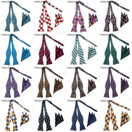 Wholesale Butterfly Silk Tie - GHL 1-20C 100% Silk Self Tied Bow Tie Set Adjustable Bowtie Handkerchief Sets Paisley Hanky Butterfly Wedding Party