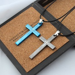 Wholesale titanium cross necklaces for men - Titanium Stainless Steel Scriptures Jesus Cross Necklace Pendants Believe Fashion Jewelry for Men Women Gift Drop Shipping