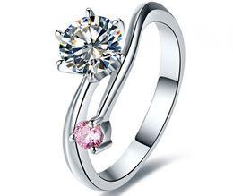 Argentina Excelente 1CT anillo de diamante sintético para la fiesta 2 piedras 2 colores de compromiso de boda joyería de plata esterlina anillos regalo de aniversario perfecto cheap perfect gift for wedding anniversary Suministro