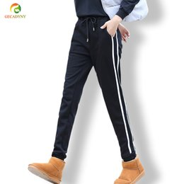 Wholesale Velvet Trousers Women - Fashion Women Plus Velvet Track Pants Classic Two Stripes Thick Warm Sweatpants Side Striped Runner Trousers Slim Harem Pants