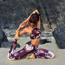 Wholesale Yoga Activewear - Floral Active Wear Fitness Apparel Yoga Shirt Top+Joga Pants Gym Leggings Leggins Fitness Sport Suit Women Yoga Set Activewear