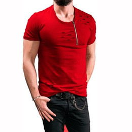 Camicie da uomo fashion design online-New Fashion Summer T-Shirt Mens Short Abbigliamento Zipper Design O-Collo Magliette Top Slim Fit Wear Uomo Tees