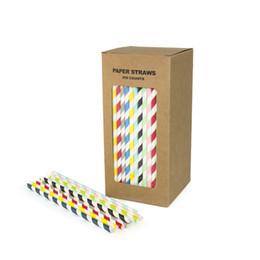 Fuentes del partido del oro rosado online-250 UNIDS / BOX bluk pajitas de papel para la Boda de Cumpleaños Decorativo Fiesta Event Supplies plástico libre rojo rosa azul menta oro negro azul marino verde