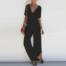 7db4d8482422 womens romper jumpsuit Canada - Womens Slim Summer Romper Solid Short  Sleeve Jumpsuit Playsuit Rompers Summer
