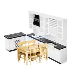 Conjunto de móveis em miniatura on-line-1:12 Dollhouse Miniature Wood Furniture Kits Mesa de Jantar Conjunto De Gabinete De Cozinha De Luxo