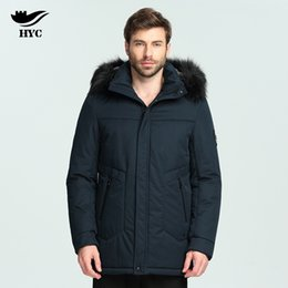 Wholesale Big Buttoned Trench Coat - HAI YU CHENG Winter Jackets Mens Trench Coat Padded Parka Puffer Jacket Male Big Size Fur Collar Coat Winter Male Overcoat Hood