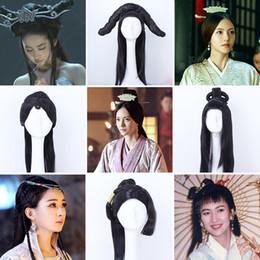 Perucas cosplay chinês on-line-Chinês antigo Espada Da Senhora Peruca de Cabelo Comprido Completo para o Desempenho de Palco ou Cosplay A Lenda de DUGU Perucas de Cabelo