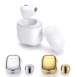 Wholesale Earplug Earphones - IP8 Super Mini Wireless Bluetooth Earphone Earbud Stereo Single Ear Headphone with Charge Box Portable Stealth Earplug for Iphone Samsung