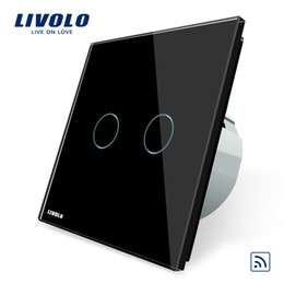 Wholesale Remote Ac Wall Switch - Livolo EU Standard Wall Light Remote Touch Switch, AC 220~250V ,With Black Glass Panel, NO Remote Controller, VL-C702R-12
