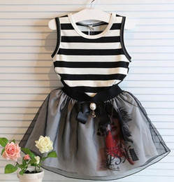 Wholesale tutu skirt chinese - Children summer outfits girls stripe t-shirt+skirts 2pcs set Princess girl bowknot waist clothing 5 s l