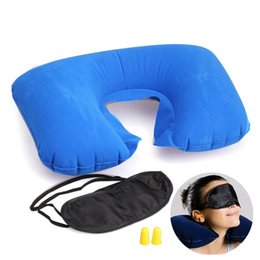 Wholesale Wholesale Bamboo Pillows - 3 in1 Travel Set Inflatable Neck Cushion Pillow + Eye Patch + Earplug Comfortable Travel Accessories US#V