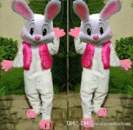 Wholesale Bunny Pink Costume - 2018 High quality EASTER BUNNY MASCOT COSTUME Bugs Rabbit Hare Cartoon Character Mascotte Suit EMS free shipping