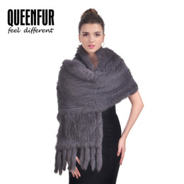 Wholesale knitted rabbit fur shawls - New Real Knit Rabbit Fur Shawl For Women Fashion Natutal Rabbit Fur Scarf With Tassel Pocket Genuine Wrap Poncho 170cm Long