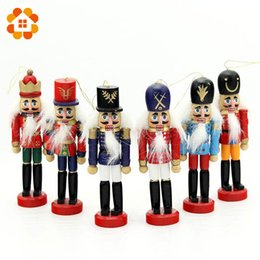 Wholesale Wooden Soldier Nutcracker - 6pcs Nutcracker Puppet Zakka Creative Desktop Decoration 12cm Wood Made Christmas Ornaments Drawing Walnuts Soldiers, Band Dolls