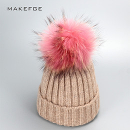 Wholesale Knitted Hats Big Ball - Pink Natural real fur raccoon fur pompon Winter women warm knit hat cap crochet skullies beanie with big ball solid thick cap
