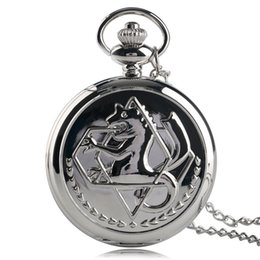 Wholesale Fullmetal Alchemist Necklace - 2018 Wholesales Stylish Silver Fullmetal Alchemist Theme Pocket Watch Analog Quartz Cool Pendant Steampunk Necklace Children Men Women Gift