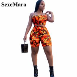 vestido de rajita de playa de dos piezas Rebajas SexeMara Camouflage Print Casual Conjunto de dos piezas Crop Top y pantalones Summer Short Chándal Sexy Bodycon Romper D74-AA21