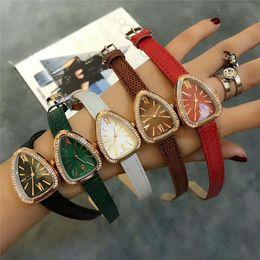 Wholesale Lady Shapes - NEW! 2018 long leather snake watch lady fashion watch with diamond rose gold women rhinestone watches dress bracelet quartz luxury brand