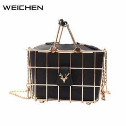 Wholesale Clutch Metal Frames - Metal Birdcage Frame Women Handbag Bucket Ladies Tote Female Clutch Bags Small Shoulder Crossbody Bags Hollow Out Handbags 2017