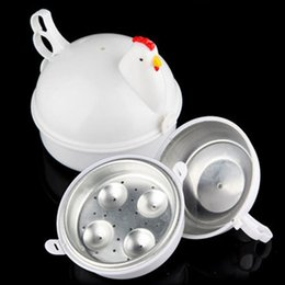 Wholesale Microwave Eggs - NEW Chicken Shaped Microwave 4 Eggs Boiler Cooker novelty Kitchen Cooking Home Tool