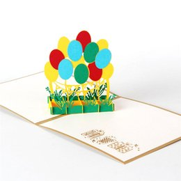 Wholesale 3d Business Cards Wholesale - 3D Laser Cut Handmade Kids Children Happy Birthday Party Balloon Paper Invitation Greeting Cards PostCard Business Creative Gift