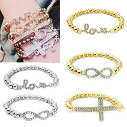 Wholesale Wholesale Love Word For Bracelet - CCB Beads Bracelet Rhinestone Crystal Cross Love Infinite Sign Words 8 Bracelet Gold Silver For Women Girls Fashion Jewelry Free DHL G376S