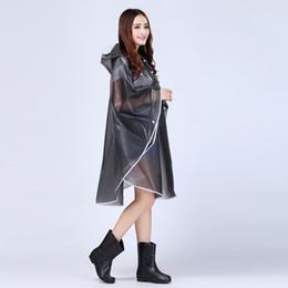 Wholesale knee length coat women - Portable Transparent Woman Poncho Fashion Womens Waterproof Outdoor Outerwear Hooded Cover Rain Coat Knee Length RaincoaII-215