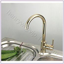 Wholesale Hot Cold Water Color - L15216 - Luxury Gold Color Brass Kitchen Faucet Hot and Cold Water Kitchen Mixer Deck Mounted Sink Tap