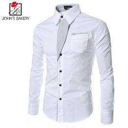 4ab1b4aa2e283 camisa blanca de la manga larga de los nuevos hombres Rebajas Nueva marca  2017 camisas de