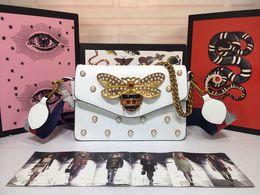 Wholesale pearl white envelopes - Broadway Mini Pearl Square Metal handbag bee Chain Bag Shoulder Messenger Bag stylish crystal Hornet