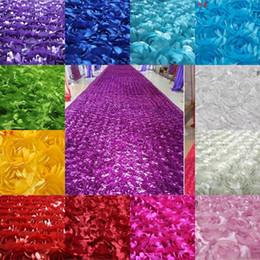 Fiori rossi rosa di tessuto online-Tessuto di fiori 3D Tavolo da sposa Tappeto Sullo sfondo Tessuto Tessuto stereo rosa multicolore per puntelli di fotografia per bambini Tessuto a rosetta