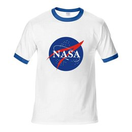 clothes space Coupons - 2019 New Fashion Designer Shirt Tops Quality Nasa Unisex T-shirt Summer Casual Style Letter Printe Cotton Shirts Space Crew Neck Clothing
