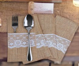 Wholesale Pirate Knives - Vintage Shabby Chic Jute Burlap Lace Tableware Fork Knife Burlap Holder Cutlery Pocket Wedding Table Decoration free shiping