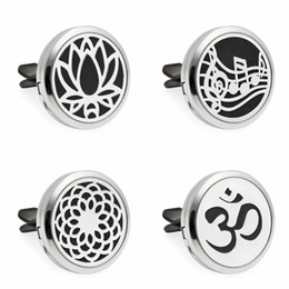 Wholesale Oil Freshener - Lotus Flowers Essential Oil Car Vent clip Air Freshener Diffuser Locket Car Aromatherapy Locket with 10pcs free pads
