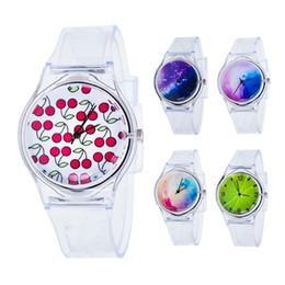 relógios analógicos crianças Desconto Moda transparente crianças mulheres colorido Dial Jelly Quartz analógico relógio de pulso