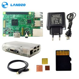 Wholesale Computer Cable Card - Raspberry Pi 3 Model B Starter Kit with Pi 3 Board+16G memory card+HDMI cable+EU Power+Heatsinks+Transparent Raspberry pi 3 case in computer