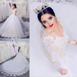 Wholesale french gowns - New Arabic Dubai Lace Wedding Dresses 2018 Gorgeous Long Sleeve French Lace Vestido De Novia Tiers Tulle Wedding Bridal Gowns