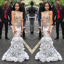Wholesale Mermaid Style Flower Girls Dress - Sexy 2018 Silver Black Girl Prom Dresses Mermaid See Through 3d Hand Made Flowers Backless Africa Style Formal Evening Party Gowns SP400