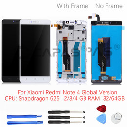Wholesale xiaomi lcd - For Xiaomi Redmi Note 4 Global 4GB 64GB LCD Display Frame Touch Screen Panel Redmi note 4 Pro Snapdragon 625 LCD Digitizer Parts