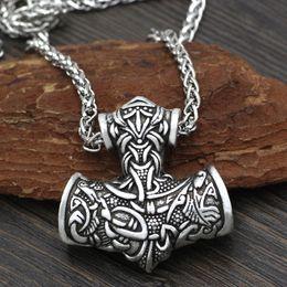 2019 regalos de vikingos Hombres Norse Viking Super L Amuleto Grande Thor Hammer Mjolnir Odin Lobo Amuleto Collar Colgante con Bolsa de Regalo regalos de vikingos baratos