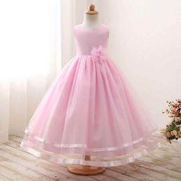 Vestido de cinta grande online-Europa Big Girls Dress Ribbon Trim Flower Wedding Girls Dresses Fiesta de cumpleaños de la manera Gasa Ruffle Girls Ball Gown Ventas calientes