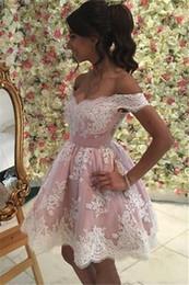 2019 vestidos de noche de marfil baratos 2019 Pink Ivory Lace V neck Homecoming Vestidos Elegante Para Niñas Vestido Más el tamaño Apliques Con Mangas cortas Vestido de noche de fiesta de baile barato vestidos de noche de marfil baratos baratos