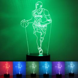 2019 luci fiabesche animali Novità Novità 7 Colori che cambiano Lampada da tavolo a LED 3D Camera da letto da pallacanestro Luce notturna Lampada da atmosfera in acrilico sfumato