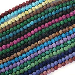 contas soltas de pedra natural 8mm Desconto 1 vertente / lote (45 pcs) contas de lava de pedra natural Multicolor Lava Beads 8 mm rodada solto Spacer Bead para DIY fazer jóias