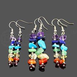 Wholesale Yoga Earrings - Handwork 7 Reiki Chakra Healing Balance Energy Earrings Colorful Natural Crystal Dangle & Chandelier Earrings For Women Stretch Yoga Jewelry