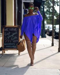 Wholesale Chiffon Women Blouses Long Sleeves - Asymmetric Stretchy off shoulder Oversized Blouse Black Women Slash Neck Blouse Shirt Summer Casual Loose Tops S-XL