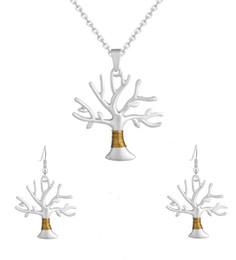 silber umsponnen Rabatt Baum des Lebens Schmuck Sets Versilbert Drahtwickel Baum des Lebens Anhänger Aussage Halskette Ohrringe Damen Modeschmuck