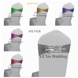 Wholesale Spandex Chair Covers Bands - New Design Spandex Sequin Chair Sash \ Lycra Chair Band Fit For Banquet Wedding Chair Cover Free Shipping